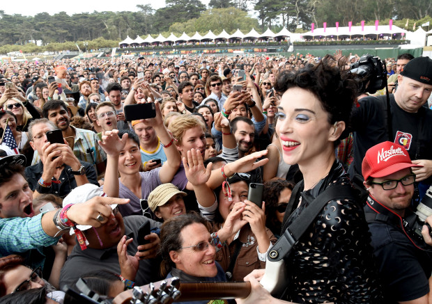 SAN FRANCISCO, CA - AUGUST 07:  Musician St. Vincent performs at the Lands End Stage during day 1 of the 2015 Outside Lands Music And Arts Festival at Golden Gate Park on August 7, 2015 in San Francisco, California.  (Photo by Jeff Kravitz/FilmMagic)