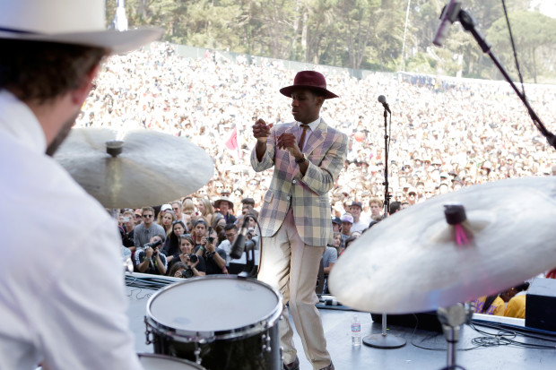 SAN FRANCISCO, CA - AUGUST 07:  Singer Leon Bridges performs at the Sutro Stage during day 1 of the 2015 Outside Lands Music And Arts Festival at Golden Gate Park on August 7, 2015 in San Francisco, California.  (Photo by FilmMagic/FilmMagic)