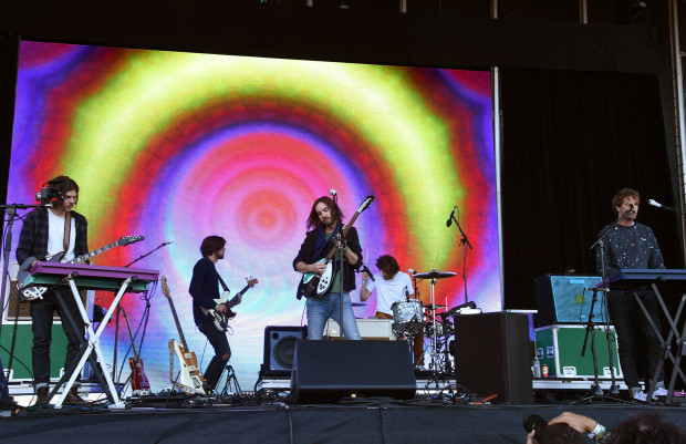 SAN FRANCISCO, CA - AUGUST 08:  Musical group Tame Impala performs at the Lands End Stage during day 2 of the 2015 Outside Lands Music And Arts Festival at Golden Gate Park on August 8, 2015 in San Francisco, California.  (Photo by Jeff Kravitz/FilmMagic)