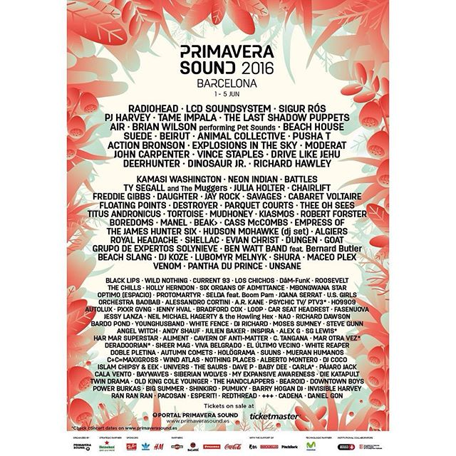 #PrimaveraSound #lineup is finally unveiled!!! #cantwait #ps16 #boom