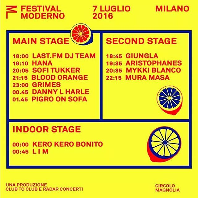 FESTIVAL MODERNO tonight w/ Grimes, Blood Orange, Giungla & many more! 🍋🍋