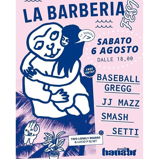 La Barberia Fest tomorrow at HANA-BI with jj mazz, Baseball Gregg, Smash and Setti, don't miss it!artwork by @makkinoso