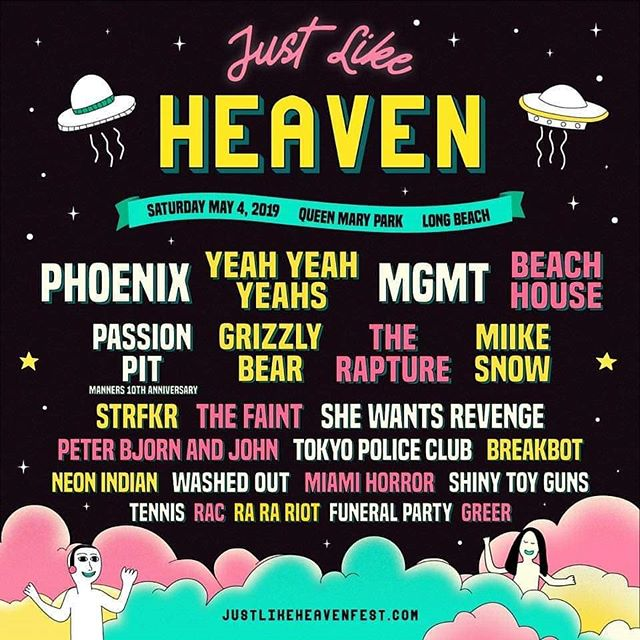 #justlikeheaven lineup is out, long beach, may 4, 2019